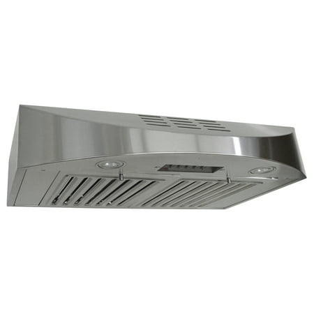 Cfm Wall Hood Liner (KOBE CHX3830SQBD-3 Brillia 30-inch Ductless Under Cabinet Range Hood, 3-Speed, 400 CFM, LED Lights, Baffle)
