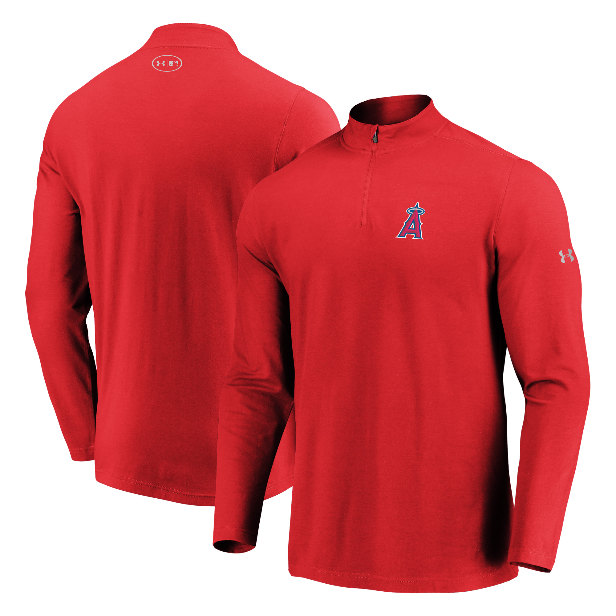 Los Angeles Angels Under Armour Passion Performance Tri-Blend Quarter-Zip Pullover Jacket - Red