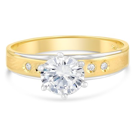 14K Solid Gold 1 Ct. Two Tone Gold Solitaire CZ Womens Engagement Ring