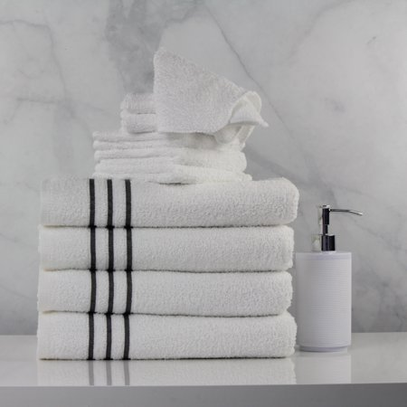 Mainstays 10 Piece Best Value Bath Towel Set - Includes 4 Bath Towels & 6 Washcloths, White with Grey Stripes (Tan Body Towels)