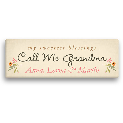 "Personalized Sweetest Blessings Call Me Grandma 6"" x 18"" Canvas, Beige"
