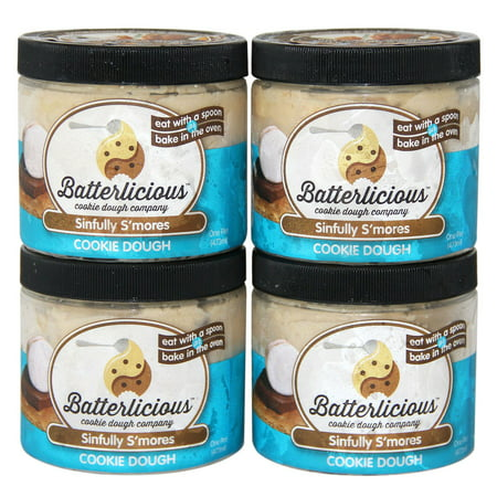 Product of Batterlicious Edible Cookie Dough, Sinfully S'mores (1 pint jar, 4 ct.) - Cookies [Bulk Savings]