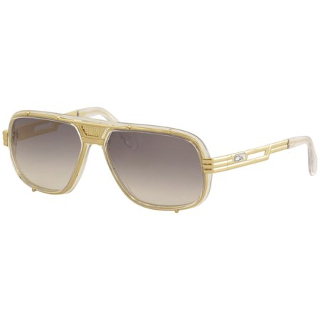 Cazal Legends Men's 665 004 Crystal/Gold Retro Pilot Sunglasses (Clear Cazal Sunglasses)