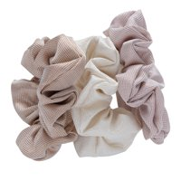 Lokks Woven Texture Scrunchies, 3 pack