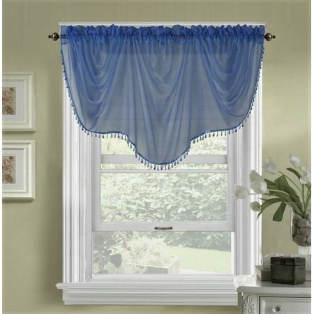 ELEGANCE CHELSEA 1PC SHEER VOILE WITH DOUBLE ASCOT VALANCE SLATE GREEN SOLID COLOR SEE THRU VALANCE ROD POCKET LIGHT FILTERING KITCHEN ,NURSERY,BATHROOM SIZE 55