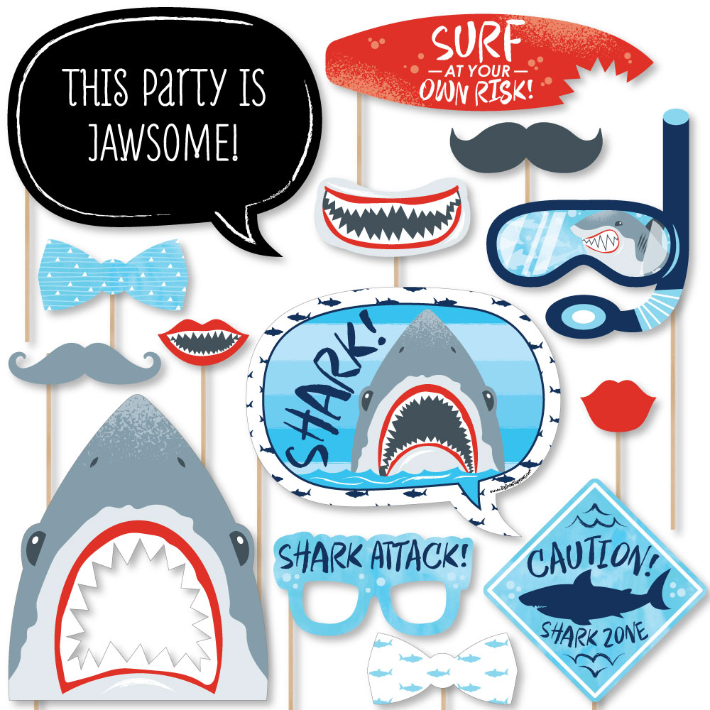 Shark Zone - Shark Week Party - Jawsome Shark Party or Birthday Party Photo Booth Props Kit - 20 Count