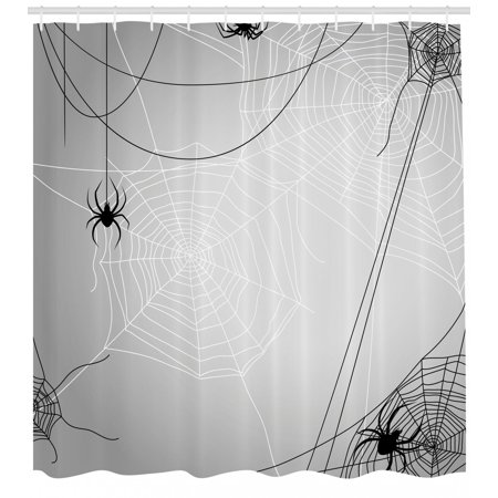 Spider Web Shower Curtain, Spiders Hanging from Webs Halloween Inspired Design Dangerous Cartoon Icon, Fabric Bathroom Set with Hooks, Grey Black White, by Ambesonne