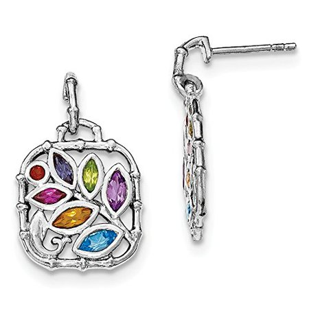 Multi Stone Dangle - .925 Sterling Silver Multi Gemstone Dangle Post Stud Earrings MSRP $215