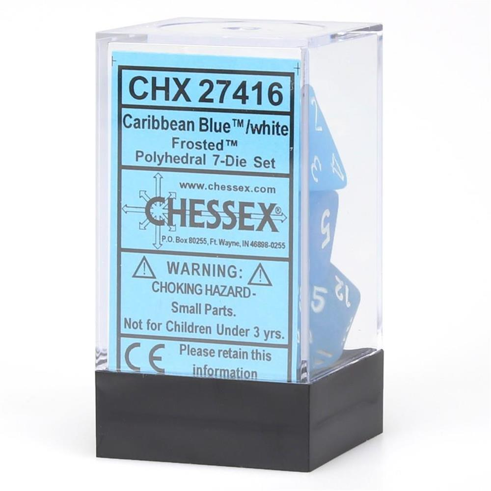 Chessex Dice Polyhedral 7-Die Frosted Dice Set Caribbean Blue w/white Manufacturing CHX27416