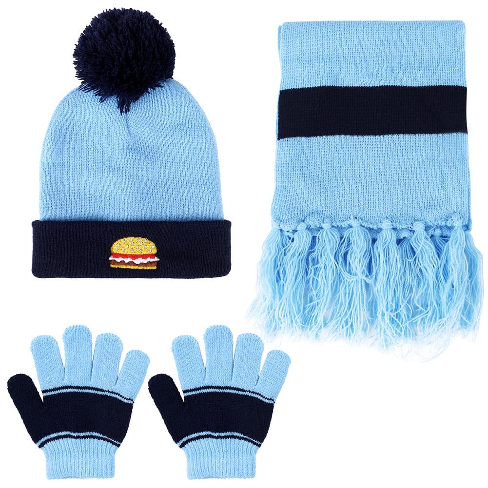 heekpek Winter Beanie Hat Scarf Gloves Set Knitted Pompom Stripped for Kids Boys Girls 3-6 Year Old
