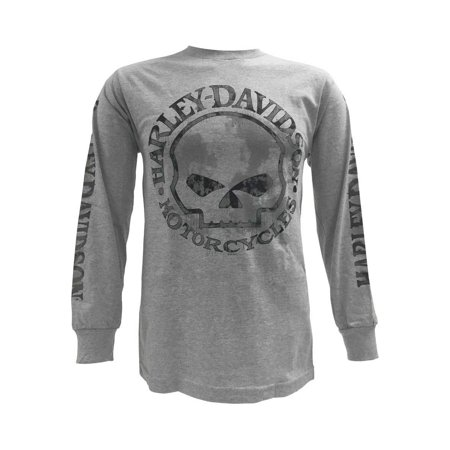 He Man Gray Skull - Men's Shirt, Willie G Skull Long Sleeve Tee, Gray 30296651, Harley Davidson