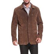 BGSD Men's Button Front Suede Leather Shirt Jacket (Medium)