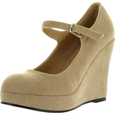 9488f0bfc939 BONNIBEL DOLLY-1 Womens Round Toe Mary Jane Platform Wedge Pumps ...