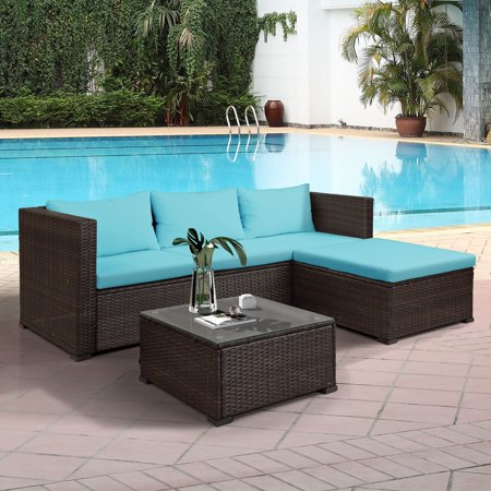 Wicker Patio Sets on Clearance, 2 Rattan Wicker Chairs with Glass Table and Storage Cabinet, 3 Piece Outdoor Patio Dining Set Patio Sofa Set with Cushions for Backyard, Porch, Garden, Pool, L2278 ()