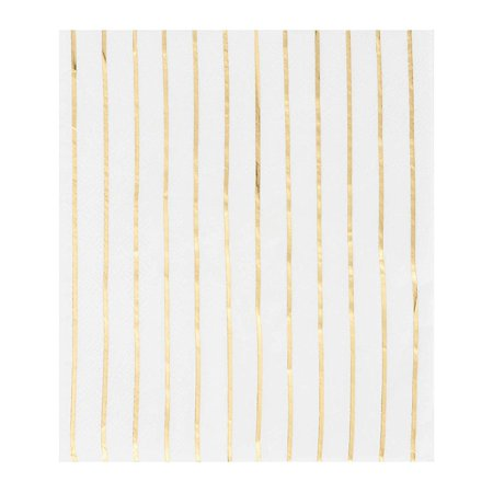Gold Napkins - 50-Pack Disposable Luncheon Napkins, Gold Foil Stripes, 3-Ply Paper Napkins, Cocktail, Bridal Shower, Birthday, Wedding Party Supplies, Folded 6.5 x 6.5 Inches