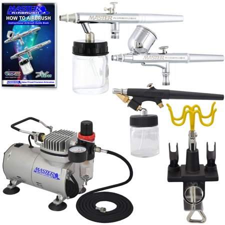 Nouveau 3 Airbrush et compresseur Kit double action Air Spray Brush Set Nail Art Tattoo