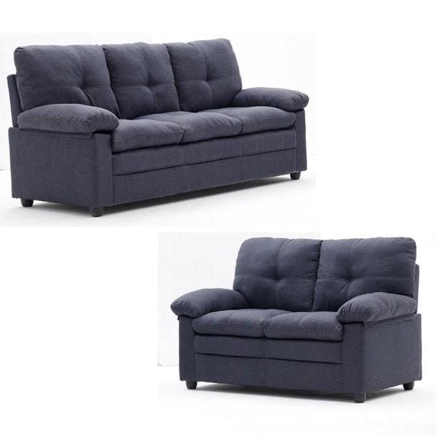 """2 Piece Cushioned Sofa Set with 74"""" Sofa and 54"""" Loveseat in Gray"""