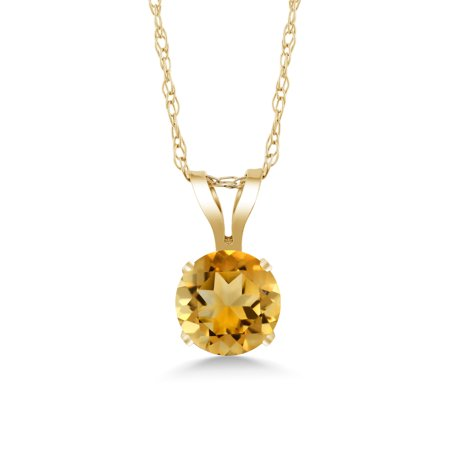 0.32 Ct Round Yellow Citrine 14K Yellow Gold Pendant With Chain