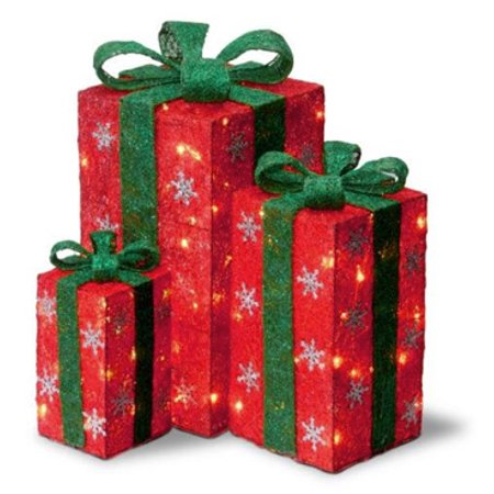 Set Of 3 Tall Red Sisal Gift Boxes Lighted Christmas Yard