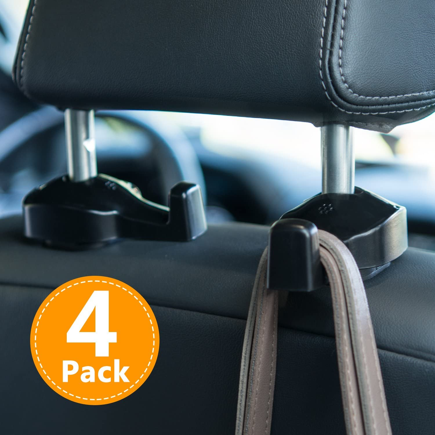 VTECHOLOGY Car Hooks 8 Pack Vehicle Hooks Purse Hooks Seat Headrest Hooks Backseat Headrest Hangers Storage for Bags Coats and Clothes Purses Grocery Bags