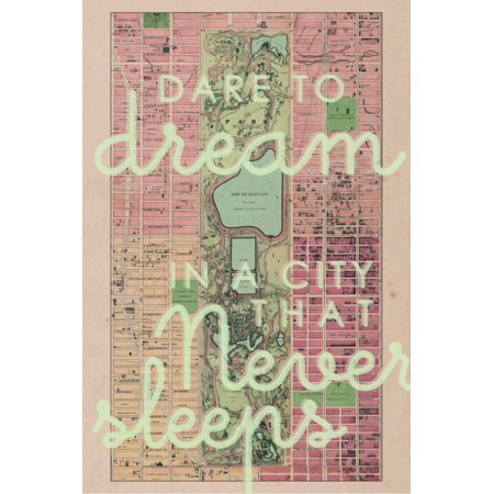 Dare to Dream in a City the Never Sleeps - 1867, New York City, Central Park Composite Map NYC Pink and Green Vintage Antique Print Wall Art - Central Bar Nyc Halloween