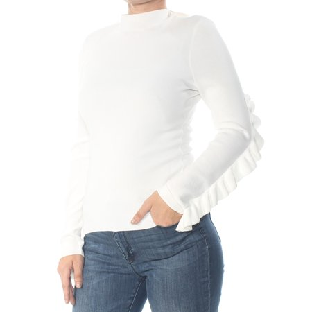 RACHEL ROY Womens Ivory Tie Long Sleeve Turtle Neck Top  Size: L
