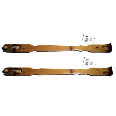 2 New Bamboo Back Scratcher Massager Wooden Body Stick Roller Backscratchers Set (Bamboo Back Scratcher)