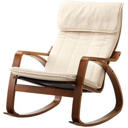 ikea poang rocking chair medium brown with cushion. Black Bedroom Furniture Sets. Home Design Ideas