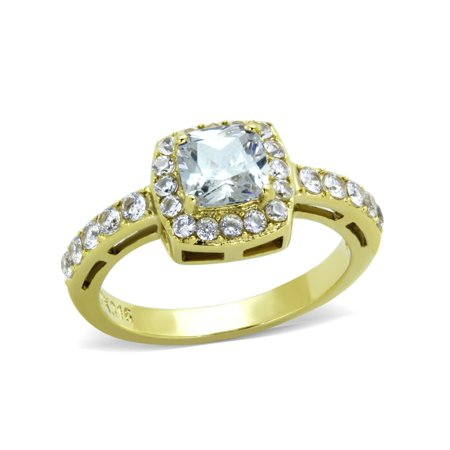 Women's 6x6mm Clear Cushion Cut CZ Center Gold IP Stainless Steel Cocktail Ring - Size (Cushion Cut Cocktail Ring)
