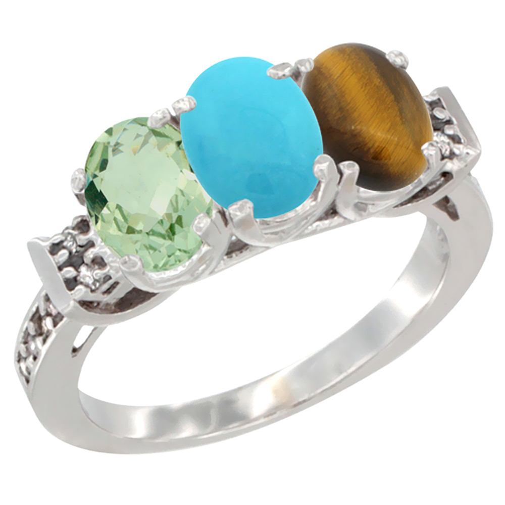 10K White Gold Natural Green Amethyst, Turquoise & Tiger Eye Ring 3-Stone Oval 7x5 mm Diamond Accent, sizes 5 10 by WorldJewels