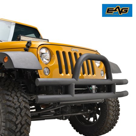 - EAG EAG Front Bumper Black Textured with Double Tubular Hoop for 07-18 Jeep Wrangler JK Offroad