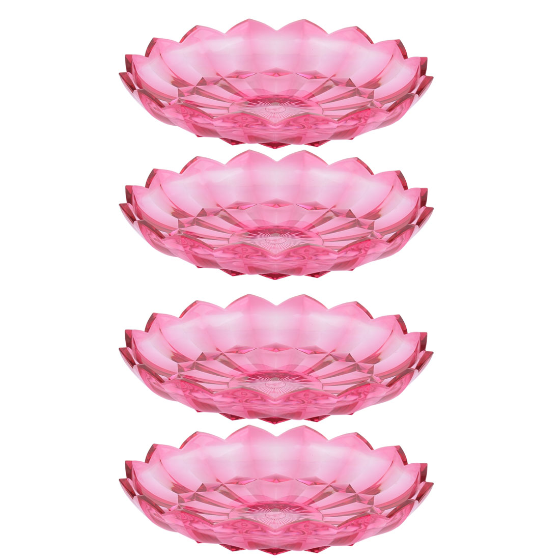 Unique BargainsHome Plastic Flower Shaped Snack Candy Vegetable Fruit Tray Plate Fuchsia 4pcs