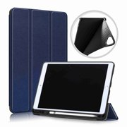 "Slim Tri-Fold Case for iPad 7th Generation 10.2"" 2019 Apple Tablet, with Microfiber Inner Smart Cover Auto Wake/Sleep & Pencil Holder (Darkblue), Darkblue"