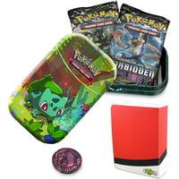 Totem World Bulbasaur Kanto Friends Mini Tin with Poke Ball Mini Binder Bundle - Perfect for Collectors Pokemon Cards