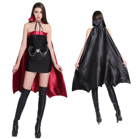 Everyday Is Halloween Tab (Black Magic with Cape Halloween Cosplay Gothic Witch Costume for)