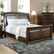 Furniture of America Glinda Wooden King Sleigh Bed in Brown Cherry