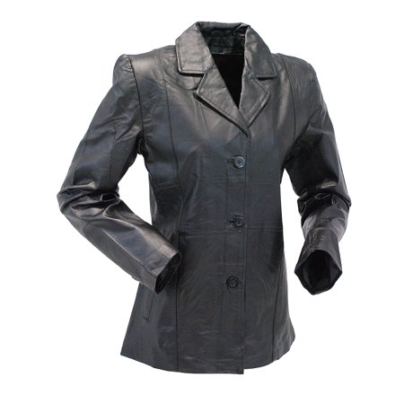 Black Lightweight Women's 3 Button Leather Coat #L30BTK