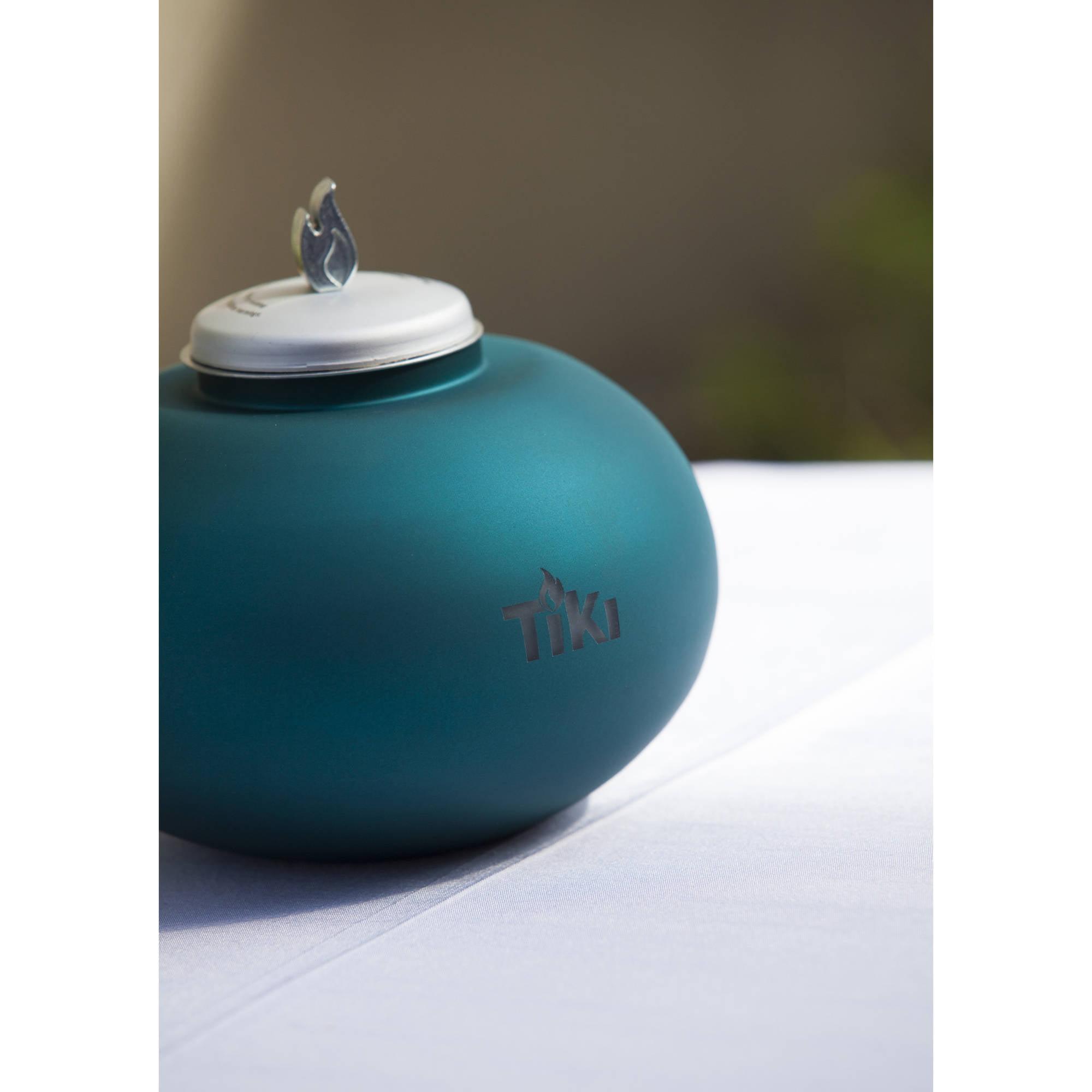 TIKI Brand Clean Burn Pearl of the Sea Tabletop Firepiece, Teal ...