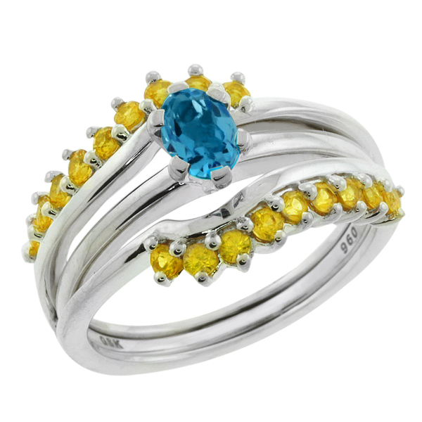 1.45 Ct Swiss Blue Topaz Yellow Sapphire Sterling Silver Wrap Guard and Center Ring