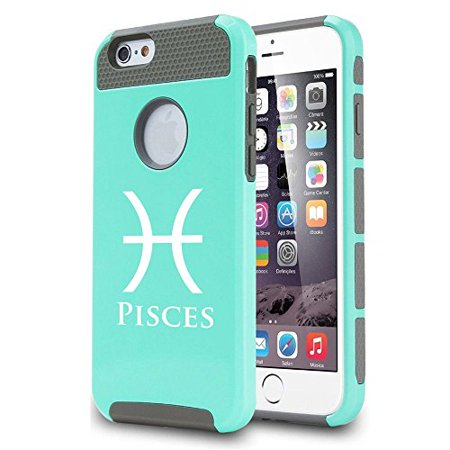 Apple Iphone 7 Shockproof Impact Hard Soft Case Cover Horoscope Zodiac Birth Sign Pisces  Teal  Mip