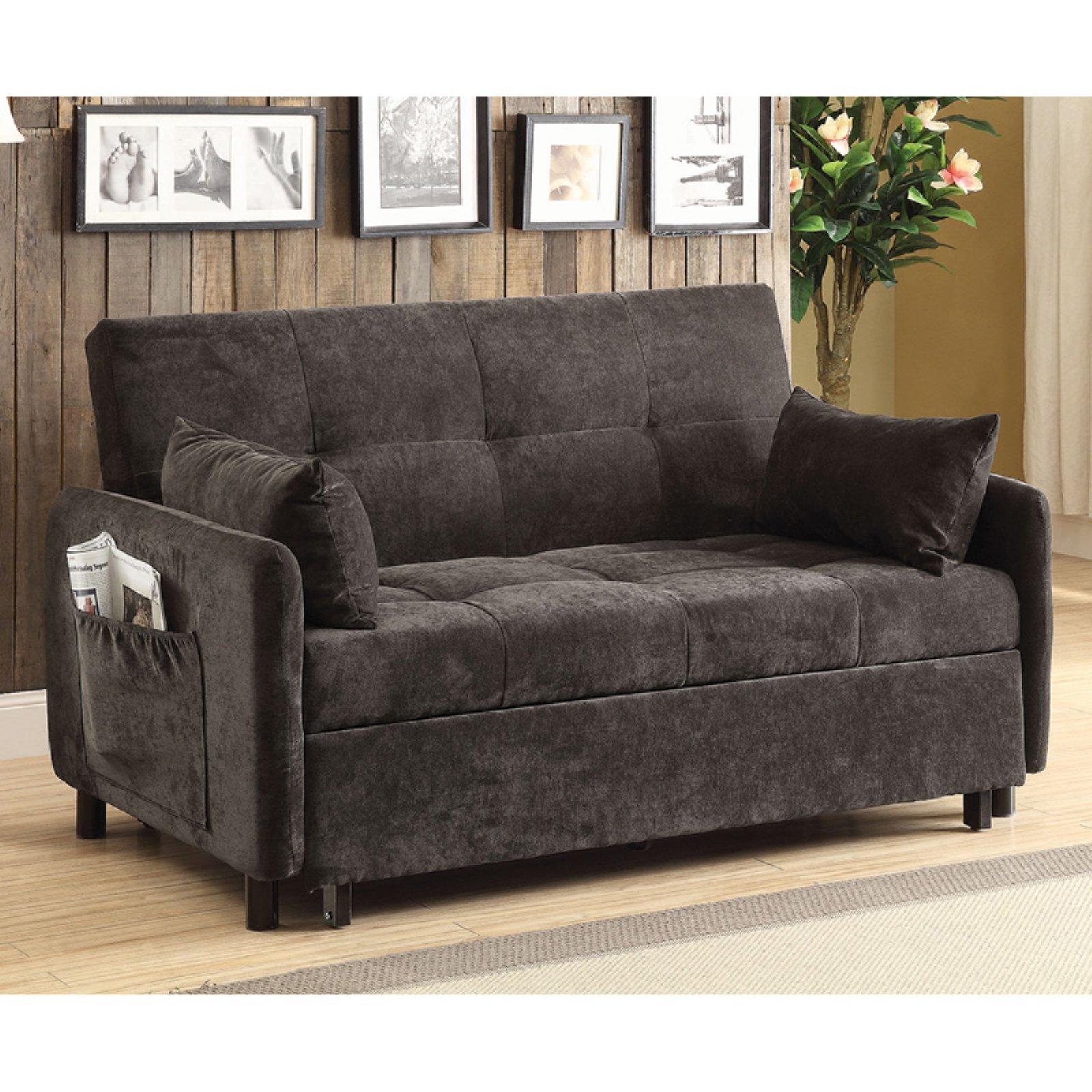 Coaster Company Sofa Bed, Dark Brown with Twill Fabric