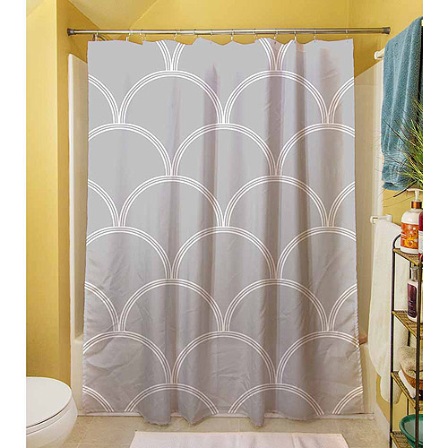 "Thumbprintz Art Deco Circles Grey and white Shower Curtain, 71"" x 74"""