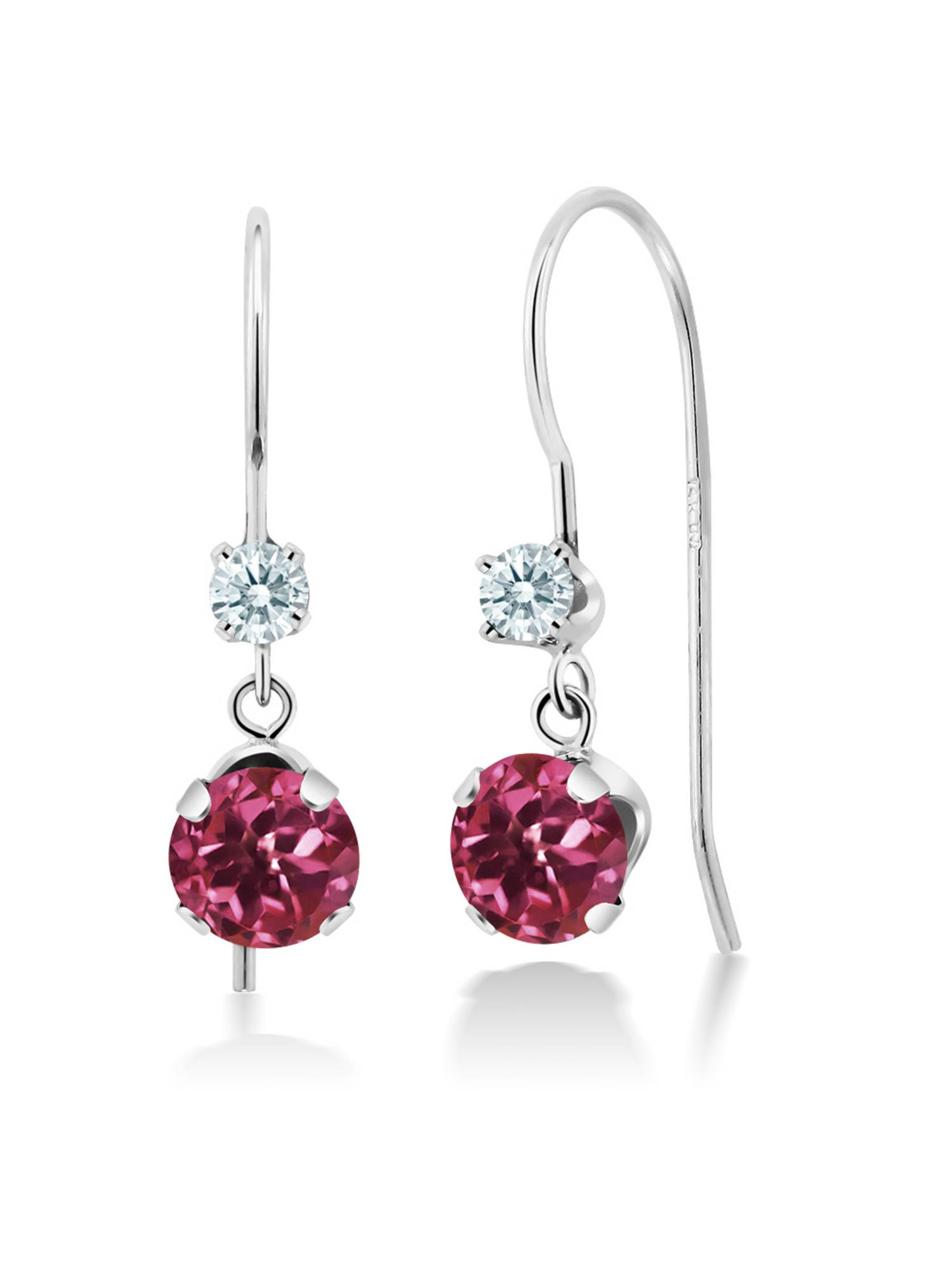 1.10 Ct Pink Tourmaline 14K White Gold Earrings Made With Swarovski Zirconia by