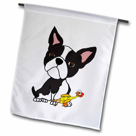 3dRose Funny Cute Boston Terrier Puppy Dog with Rubber Chicken Toy - Garden Flag, 12 by
