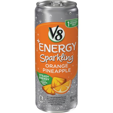 V8 +Energy Sparkling Healthy Energy Drink, Natural Energy from Tea, Orange Pineapple, 12 Ounce Can (Pack of (Natural Orange)