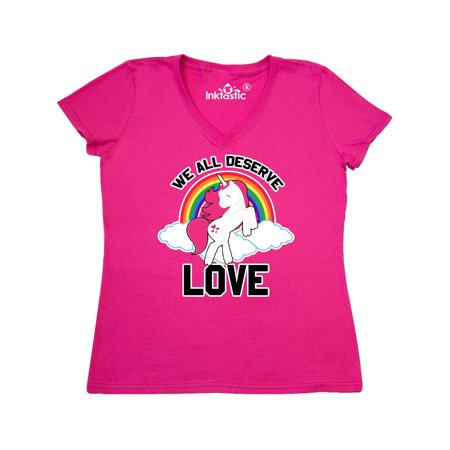 We All Deserve Love with Unicorn Clouds and Rainbow Women's V-Neck