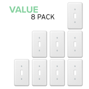 Value 8-Pack Toggle Light Switch Stylish Decorative Stamped Steel Wallplate, White