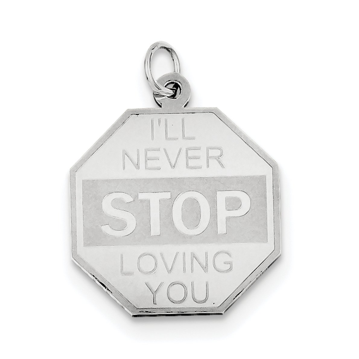Sterling Silver Rhodium-plated I'll Never stop loving you Charm QC368 (28mm x 21mm) - image 2 of 2