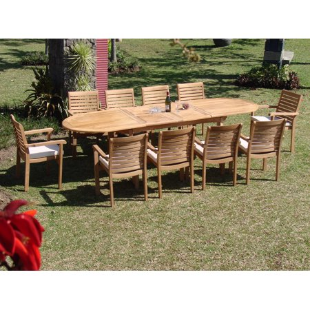 Admirable Teak Dining Set 10 Seater 11 Pc Large 117 Mas Trestle Leg Oval Table And 10 Hari Stacking Arm Chairs Outdoor Patio Grade A Teak Wood Wholesaleteak Home Interior And Landscaping Palasignezvosmurscom