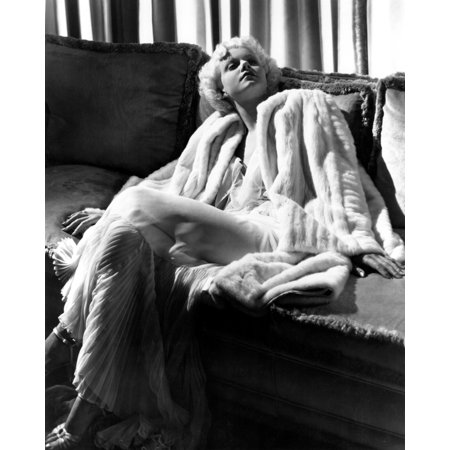 Jean Harlow In A White Gown And White Fur Coat Canvas Art -  (16 x